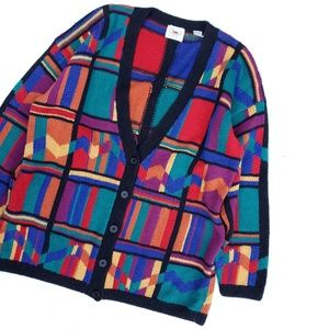 Vintage Hand Knit Colorful Open Oversized Sweater